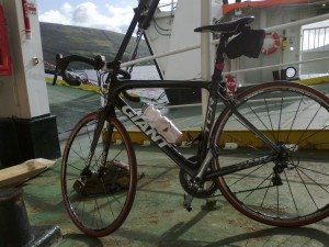 My bike loving the ride on the CalMac ferry to Colintraive