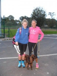 Jenny Hastings with her daughter on day 300 of her year's running challenge