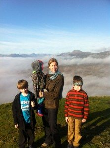 Kat and her three sons on Conic Hill, Balmaha