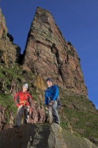 Climbers Dave McLeod and Andy Turner at St John's head, Orkney. Pic credit: Lukaz Warzecha.