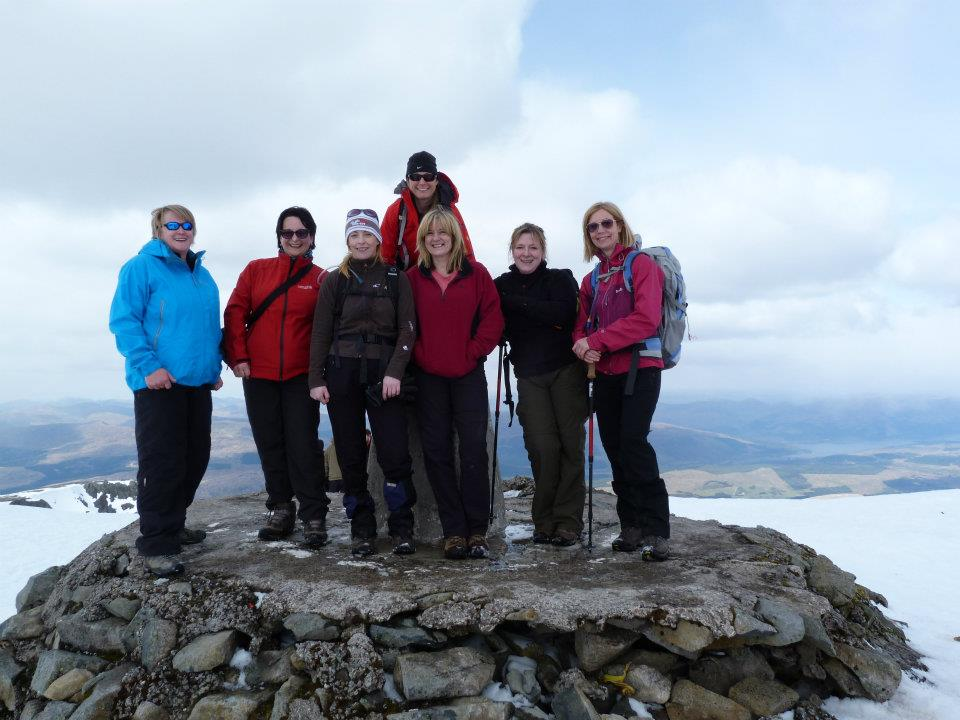 Girls on Ben Nevis summit