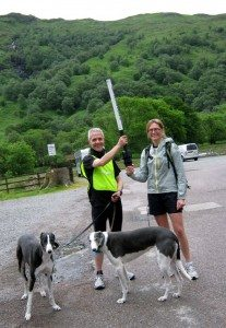 Matthew passes the Real Relay baton to me at the Drover's Inn, inveranan