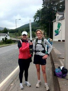 Handover to Alison at the Green Welly Stop, Tyndrum