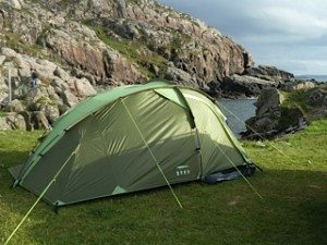 OUr Urban Escape three-man tent in situ on the glorious west coast of Scotland