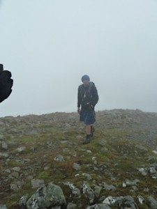 Big Al approaches the summit of his last Munro