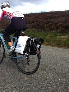 Hills are tough: Bike and panniers