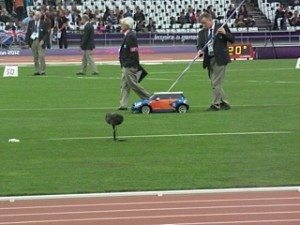The remote-controlled Minis that return the javelin to the athletes
