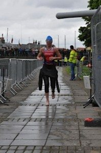 Exiting the swim