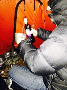 Warming wine inside the Force Ten Spindrift 300 tent