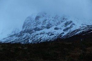 Ben Nevis on a cold, dark and very wet and windy night. It still looks magnificent though!