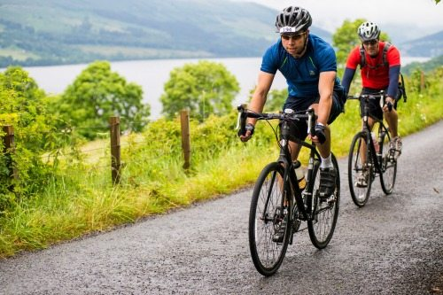 Cyclists dig in to complete the Quadrathlon.