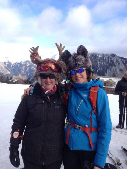 Chalet host Sue-the reindeer and my snow husky...