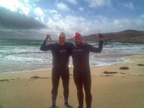 John and Colin hope to complete their St Kilda swim in 2015.