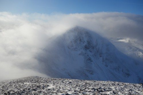 Stob Coire Easain at Loch Treig emerges from a cloud blanket. Many thanks to Hazel Strachan for the picture.