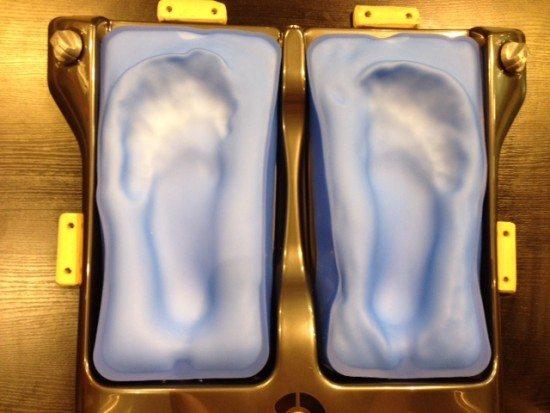 My long, narrow feet moulded in the gel bags.