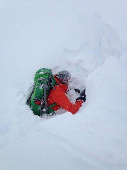 A giant snow hole.