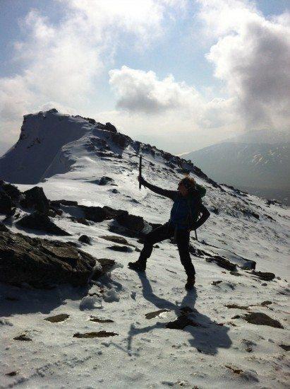 Girl mountain - and a man leg!