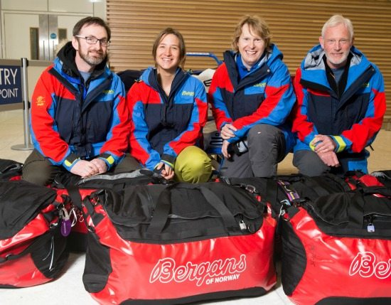 Craig Mathieson with guides jess Ridgeway, Dr Mike Wilde and Nigel Williams.