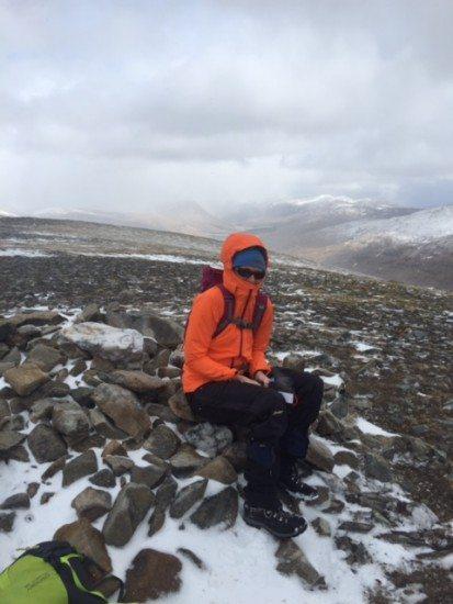 Freezing summit of Beinn Mv