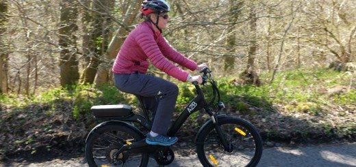 A sunny ride up a hill on an A2B Obree e-bike.