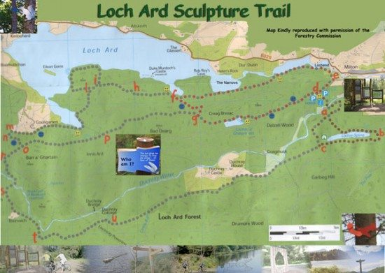 Choose family friendly trails, such as Loch Ard Sculpture Trails, near Aberfoyle.