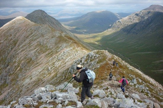 Linlithgow Ramblers on Buachaille Etive Beag. (The  descent of Stob Dubh.)
