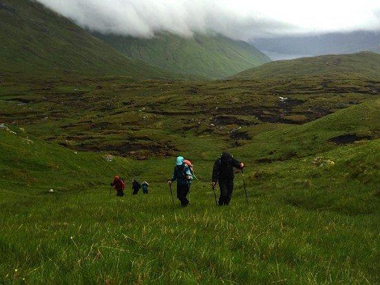 A hike up towards the mist and rain.