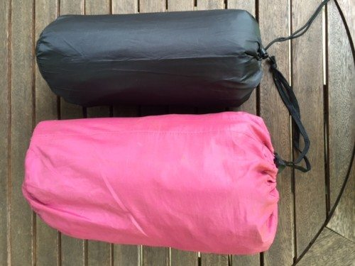 The pink pack is the older style Therm-A-Rest. The black one is the new Voyager mattress.