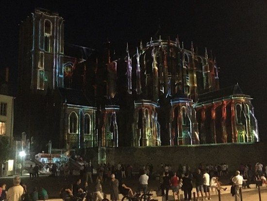 Le Mans Cathedral lit up with a special coloured light show.
