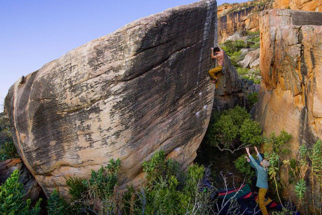 High ball sees Jimmy Webbing attempting a huge boulder climb. Pic credit: Beau Kahler
