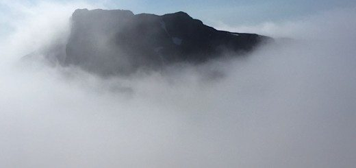 The top of Ben Nevis peaking through the clouds.