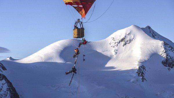 Balloon skiing.