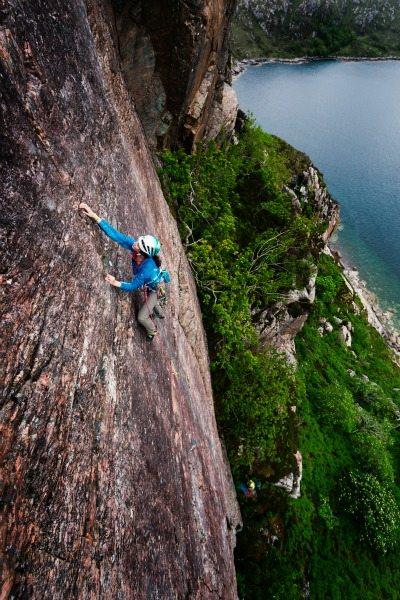 Nat climbing Diabaig (E2) on The Pillar.