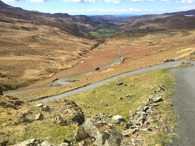The Hardknott road winding upwards.