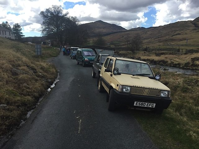 The convoy of 4X4 Fiat Pandas.