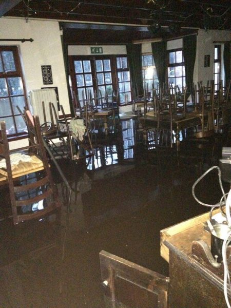 A wash out - the dining room Old Bridge Inn December 2015