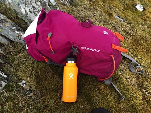 The 18oz Hydro Flask fits neatly into the side pocket of my summer walking rucksack.
