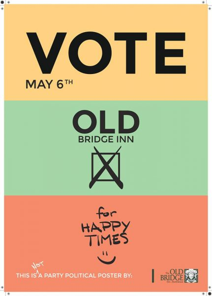 Vote for happy times - Old Bridge Inn re-opens Friday 6th May 2016