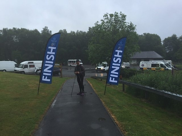 We crossed the finish line! (This was the flags at a charity event that we happened upon at Inveruglas.)