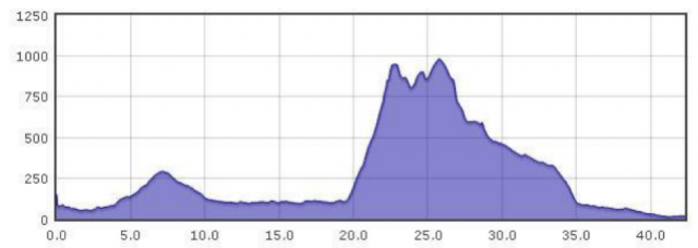 Elevation profile of high-level run route.