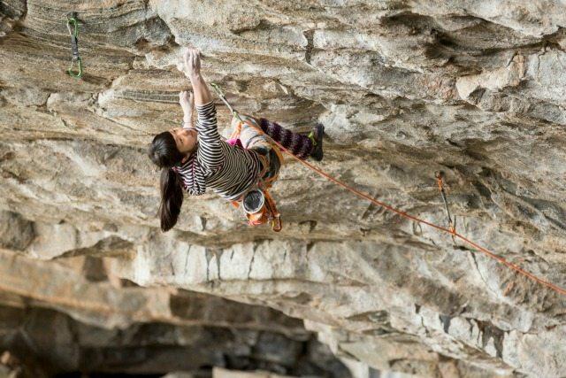Young climber Ashima Shiraishi climbing.- Pic credit: Brett Lowell