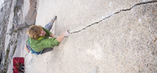 Will Stanhope climbing the Tom Eagan memorial route. Pic crdit: Kyle Berkompas