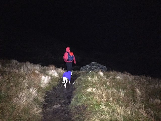 Wearing the gloves on a chilly night-time walk of ben Lomond.