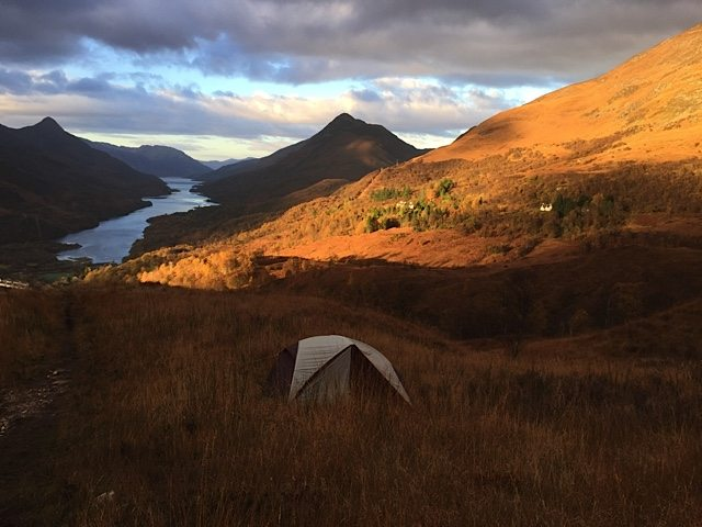 A lone tent on the hillside above Kinlochleven and Loch Leven.