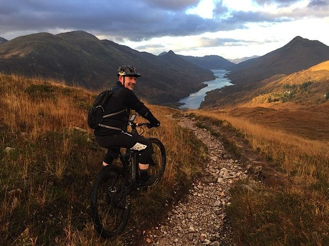 We met Ashley, a mountain biker who was enjoying a morning ride before heading to a wedding in Kinlochleven.