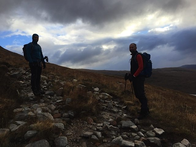 The G-Force and Nick on the path toward our first Munro of the day.