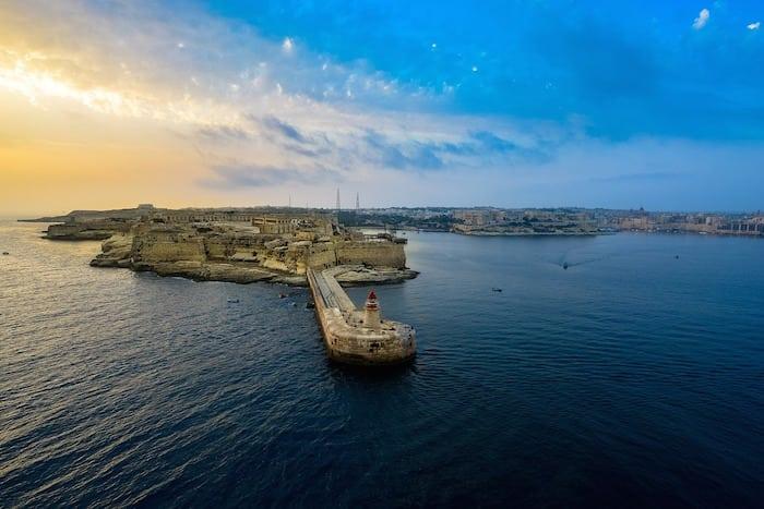 Sea Sunrise Bay Malta Harbor Mediterranean Sunset