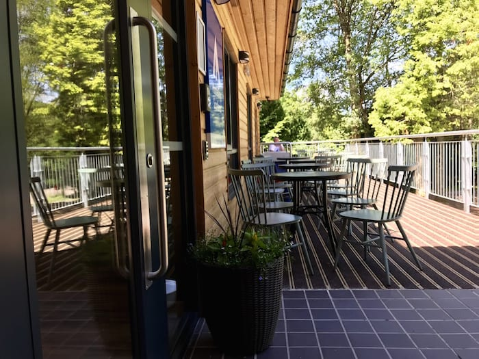 Decking area at the front of the Glen Nevis Hostel.