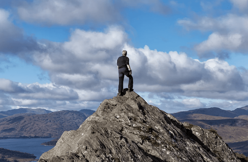 John on his 100th summit of Ben A'an.