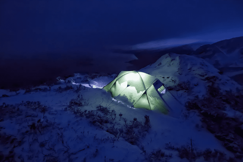 wild camp in the snow on Ben Aa'n